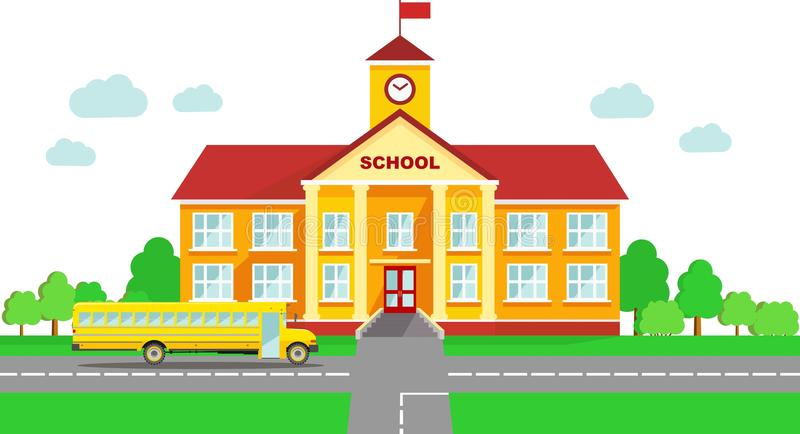 Panoramic background with school building and school bus in flat style vector illustration