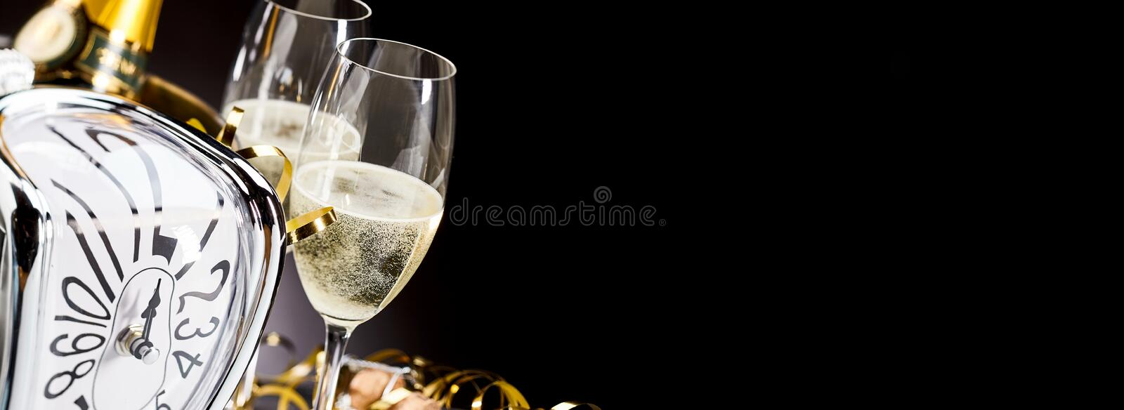 Panoramic banner with New Years champagne stock photo