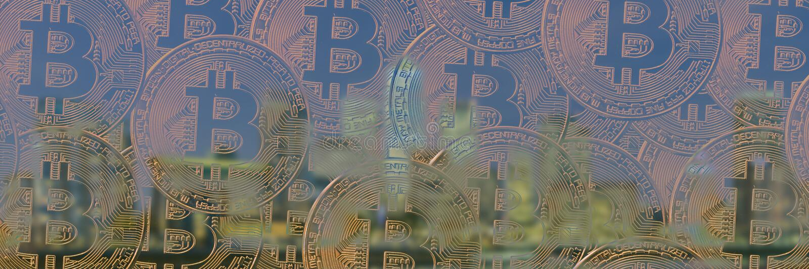 Panoramic banner template made of Bitcoins.  stock images
