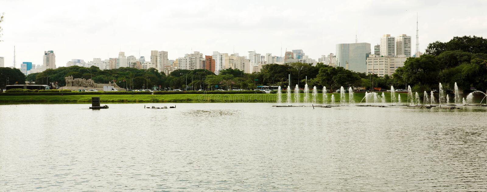 Panoramic banner view of Ibirapuera Park with Sao Paulo cityscape, Brazil royalty free stock photography