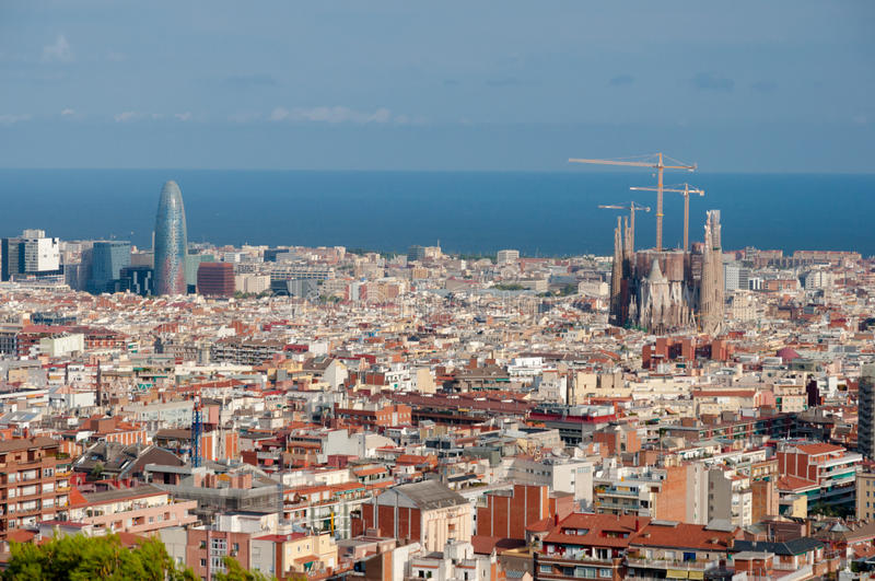 Panoramic of Barcelona Sagrada Familia and Agbar. Panoramic view of Barcelona with La Sagrada Familia and Agbar building in Spain royalty free stock photography