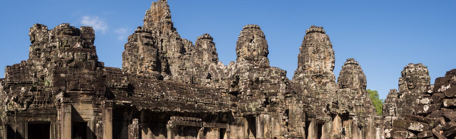 Panoramic of Bayon Temple in Angkor Temples. In Cambodia stock image