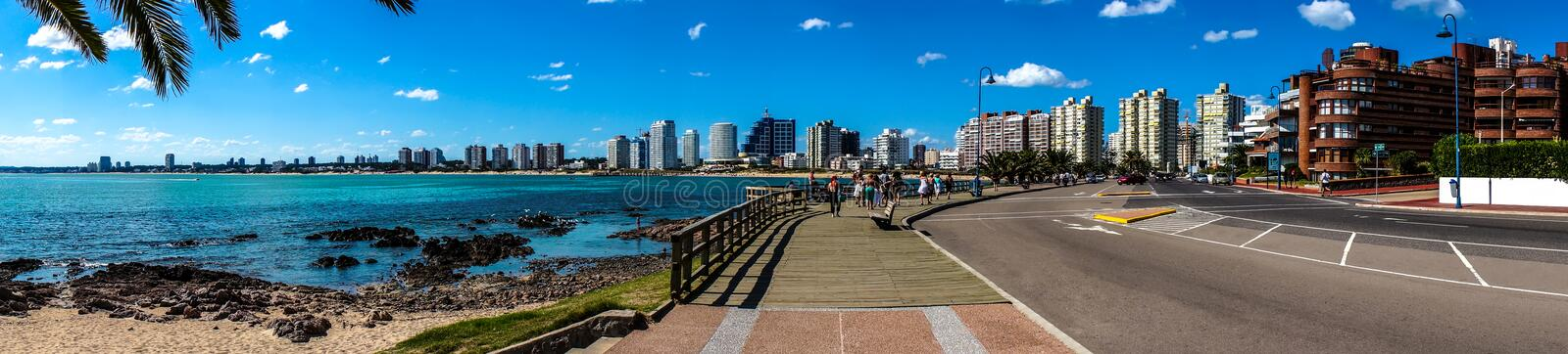 Panoramic Beach and City royalty free stock photos