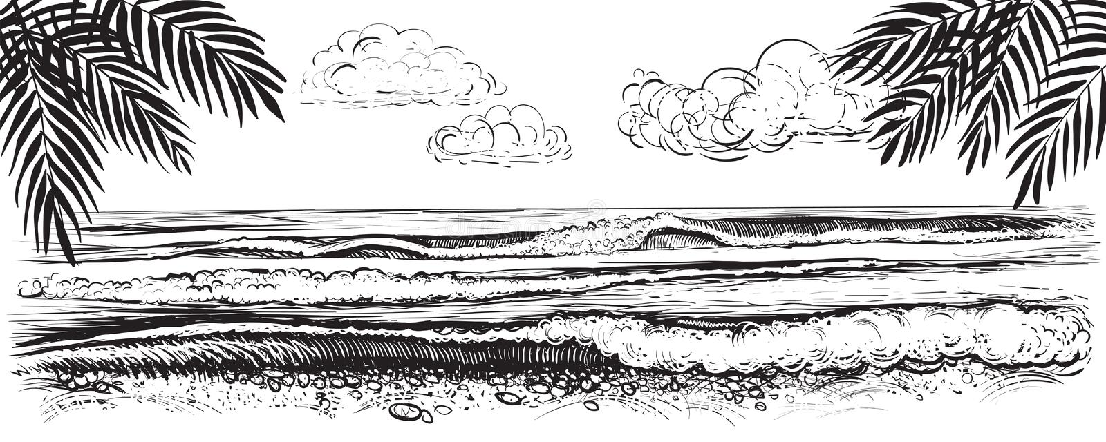 Panoramic beach view. Vector illustration of ocean or sea waves. Hand drawn. royalty free illustration