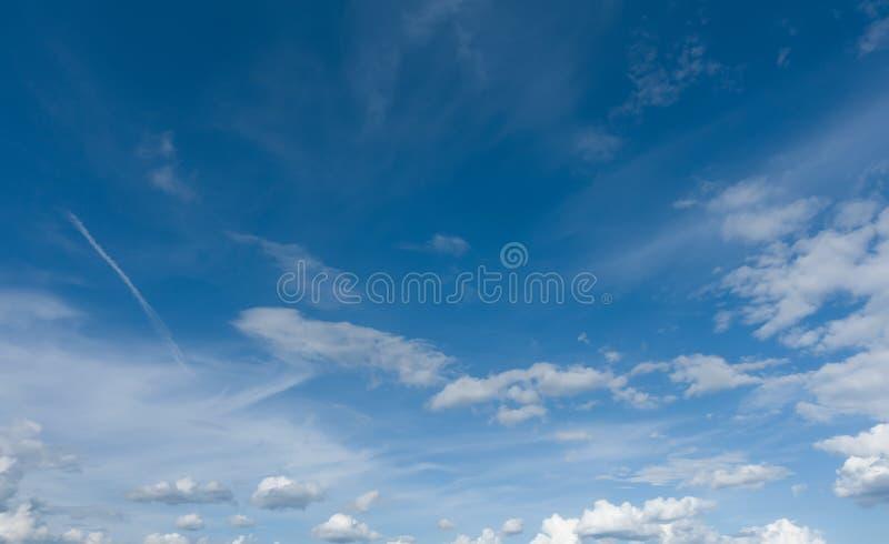 Panoramic beautiful blue sky. Professional shoot, no birds. stock photography