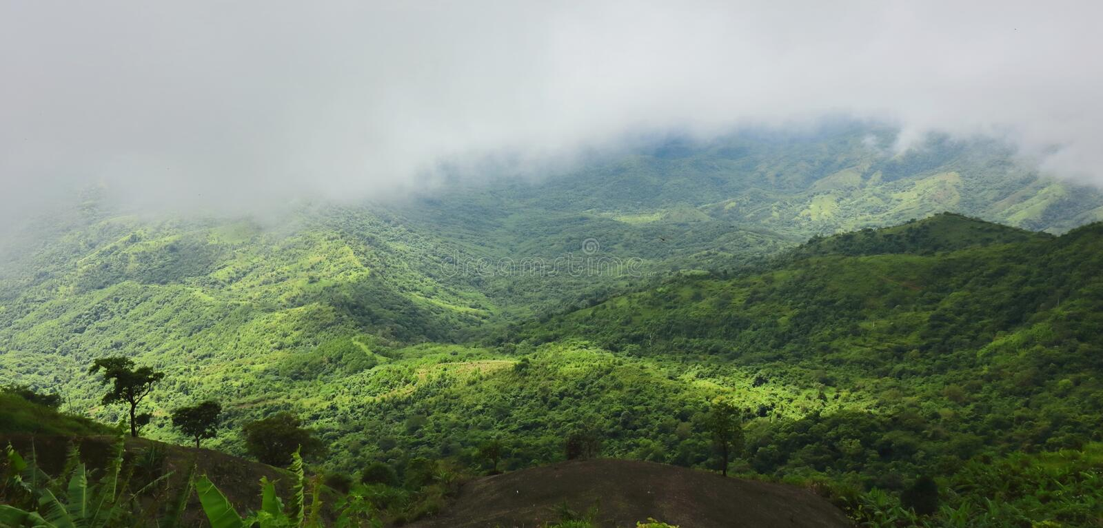 Panoramic beautiful natural scenery of mist over green mountain. royalty free stock photography
