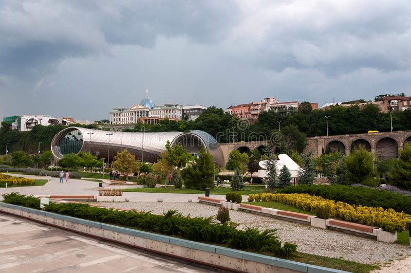 Panoramic beautiful summer view of Rike Park and Presidential palace.Tbilisi. Georgia royalty free stock images
