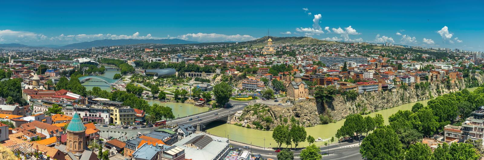 Panoramic beautiful top view of historic part of Tbilisi. Georgia in summer. stock photos