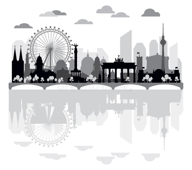 Panoramic Berlin skyline. Horizontal silhouette illustration of Berlin architectural landmarks and reflection in water. Panoramic Berlin traveling skyline royalty free illustration