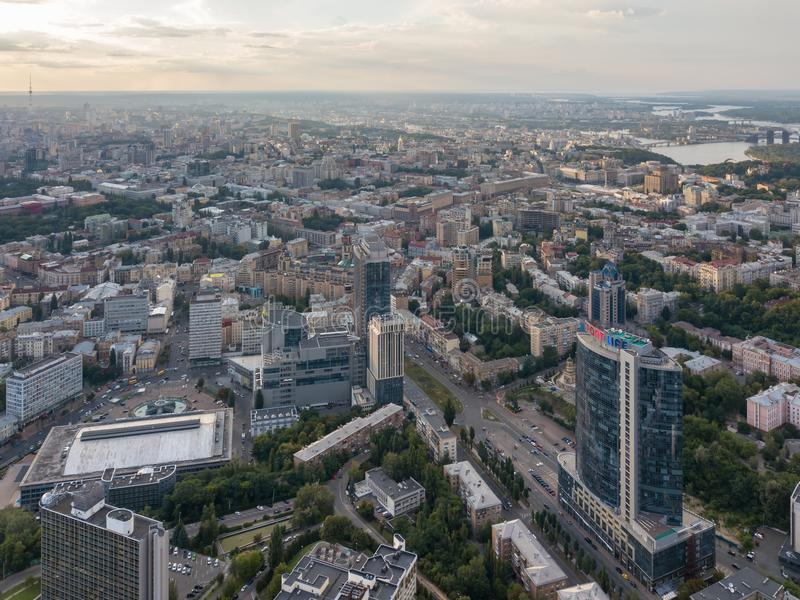 Panoramic aerial view from the drone of the the central part of the city Kiev, Ukraine, with old and modern buildings of royalty free stock photography