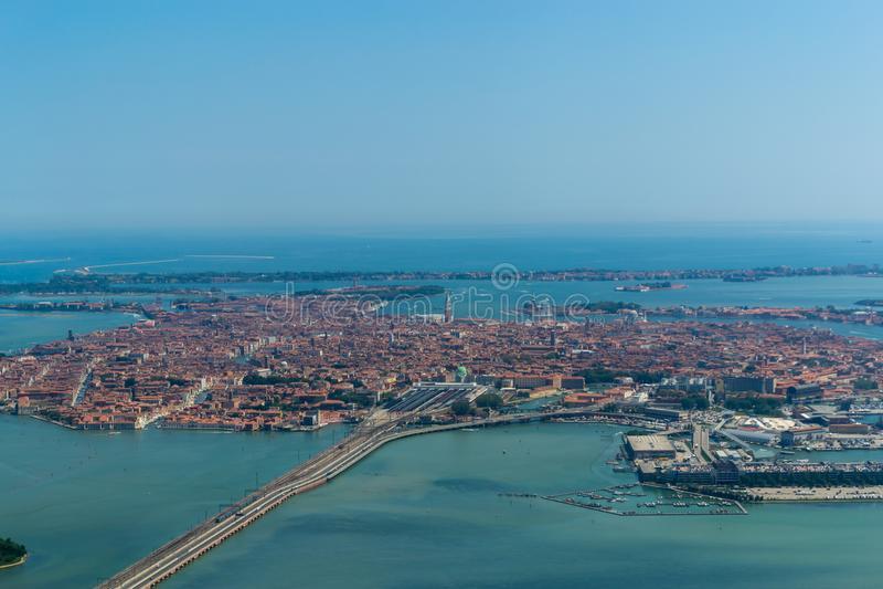 The panoramic bird& x27;s eye view of Venice, Italy stock photo