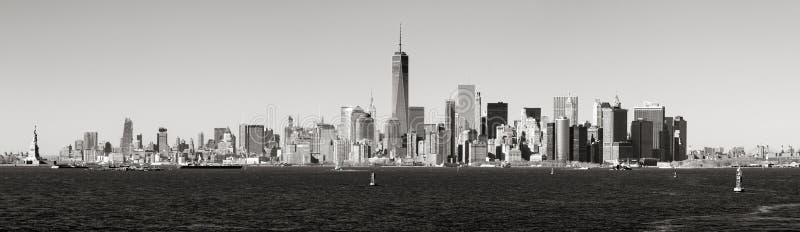 Panoramic Black & White view of Lower Manhattan skyscrapers from New York Harbor. New York City stock photography