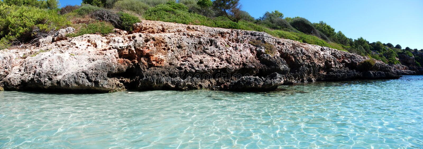 Panoramic Cala Sa Nau (Mallorca) royalty free stock photography