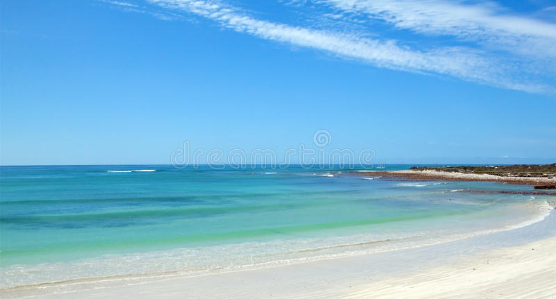Panoramic of a calm ocean. High clouds and beach royalty free stock photography