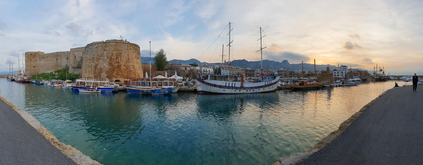 Panoramic capture of the historic 7th century AD Castle boats and old harbor in Kyrenia, Island of Cyprus stock photos
