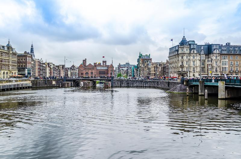 Canal and buildings of the center of Amsterdam. europe netherlands holland royalty free stock image