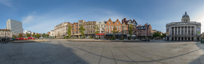 Panoramic of the city of Nottingham. United Kingdom. England stock images
