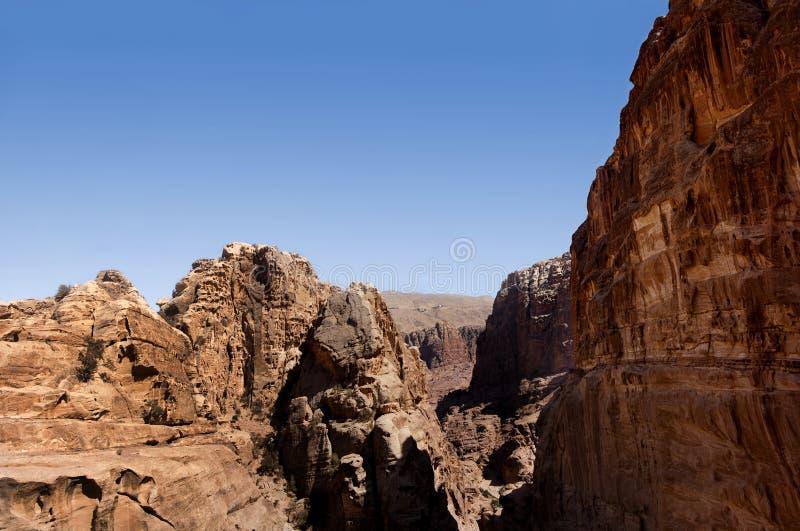 Panoramic city of Petra. Jordan stock photo