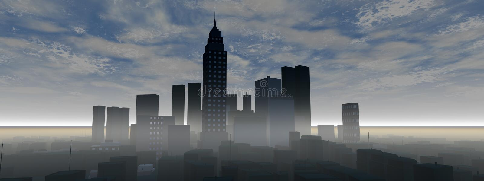 Download Panoramic City Skyline Royalty Free Stock Photography - Image: 19874457