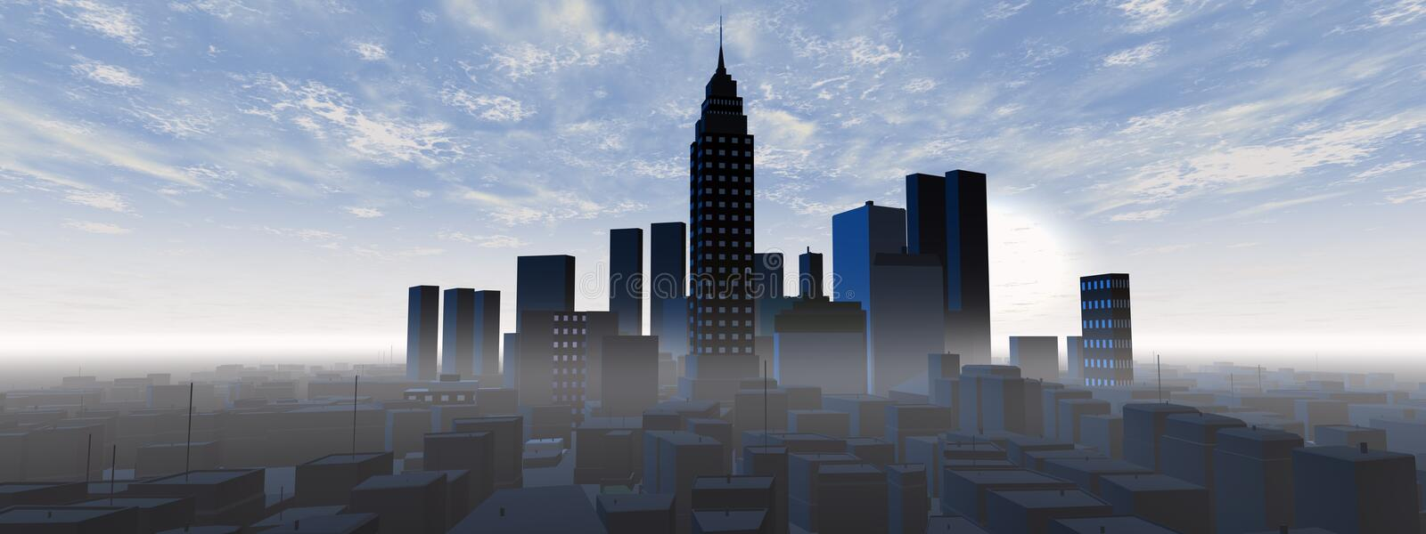 Download Panoramic city skyline stock illustration. Image of center - 19875756