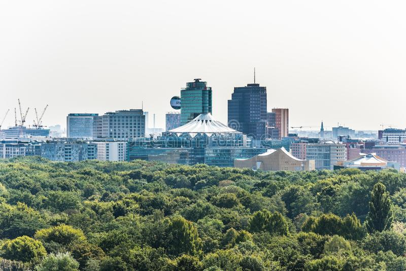 Panoramic city view of Berlin from the top of the Berlin Victory Column in Tiergarten, Berlin, with modern skylines royalty free stock image