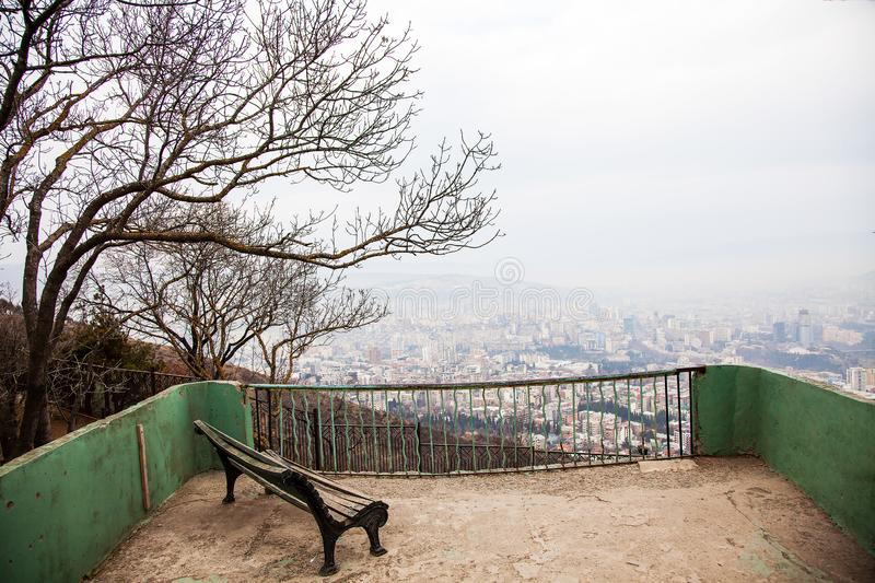 Panoramic city view from Mtatsminda park in Tbilisi, Georgia, January stock photo