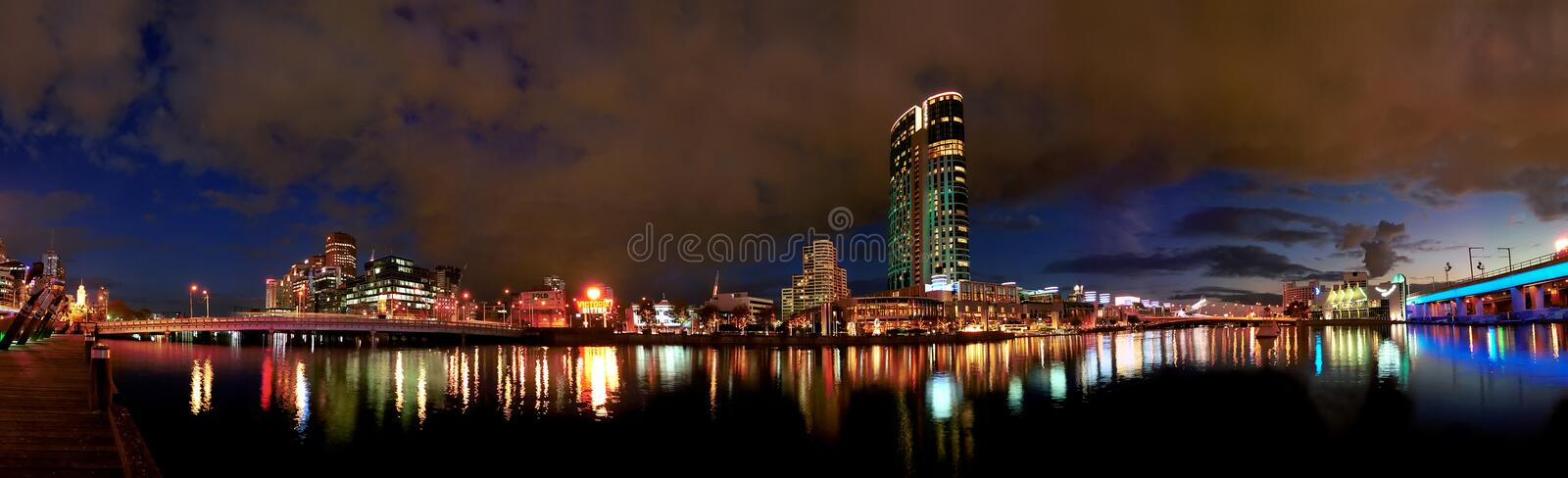 Panoramic cityscape. At dusk, Southbank, Melbourne, Australia