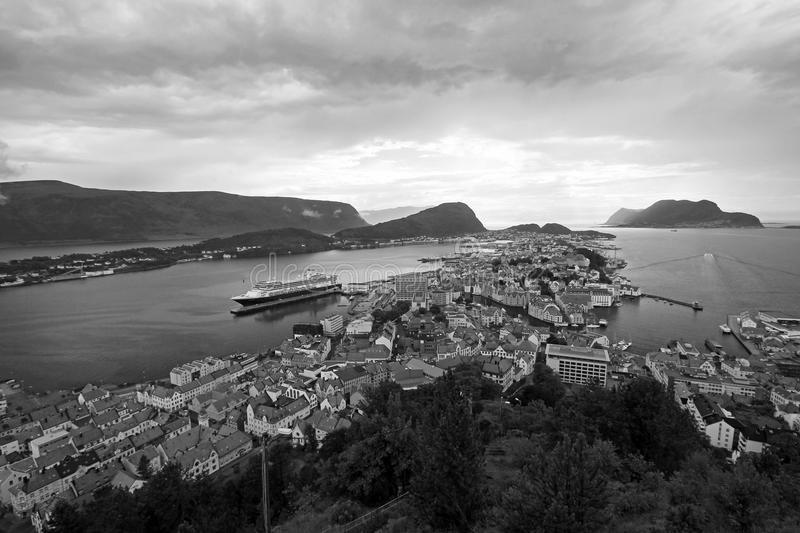 Panoramic cityscape of Alesund, black and white photography, Norway stock photos