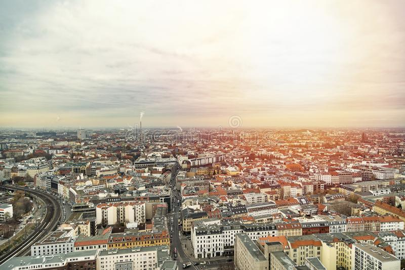 Panoramic cityscape of Berlin from the top royalty free stock photo