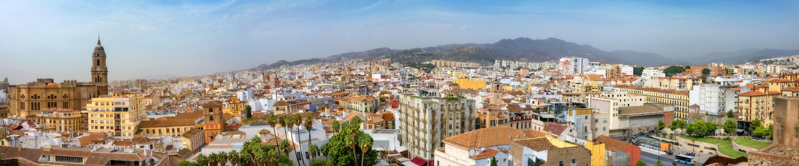 Panoramic cityscape of historic downtown with Malaga Cathedral. Malaga, Andalusia, Spain stock images