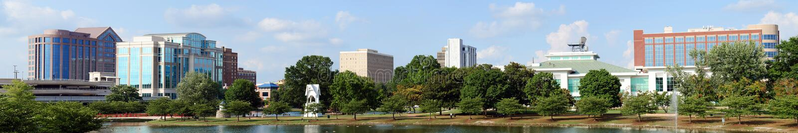 Panoramic cityscape of Huntsville, Alabama. Panoramic cityscape of downtown Huntsville, Alabama from Big Spring Park stock photos