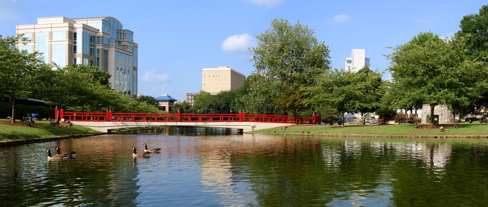 Panoramic cityscape of Huntsville, Alabama. Panoramic cityscape of downtown Huntsville, Alabama from Big Spring Park stock image