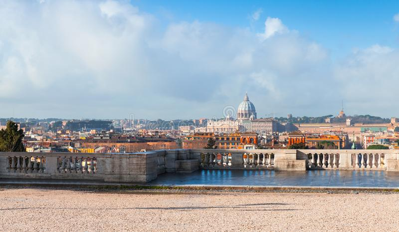 Panoramic cityscape of Rome, Italy. The Papal Basilica of St. Peter in the Vatican as a main dominant landmark, photo taken from the Pincian Hill stock photo