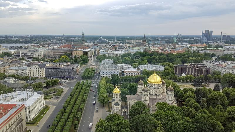 Panoramic cityscape streets of Riga from above: aerial panorama view of Riga city, capital of Latvia royalty free stock images