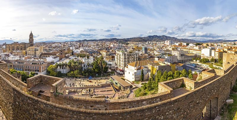 Panoramic cityscape view of historic center of Malaga city, Costa del Sol, Andalusia, Spain. Cathedral of Malaga on the left on stock image