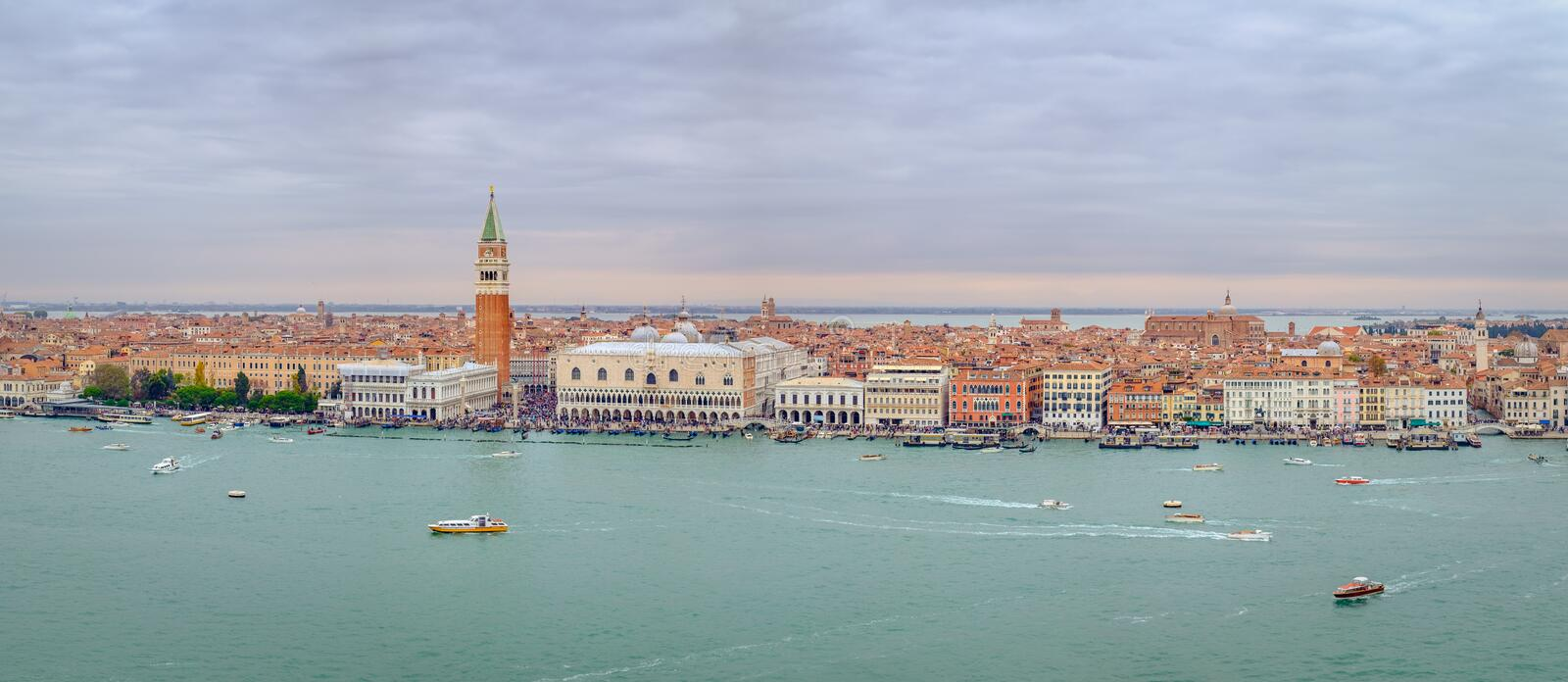 Panoramic cityscape view of Venice lagoon, Italy royalty free stock images