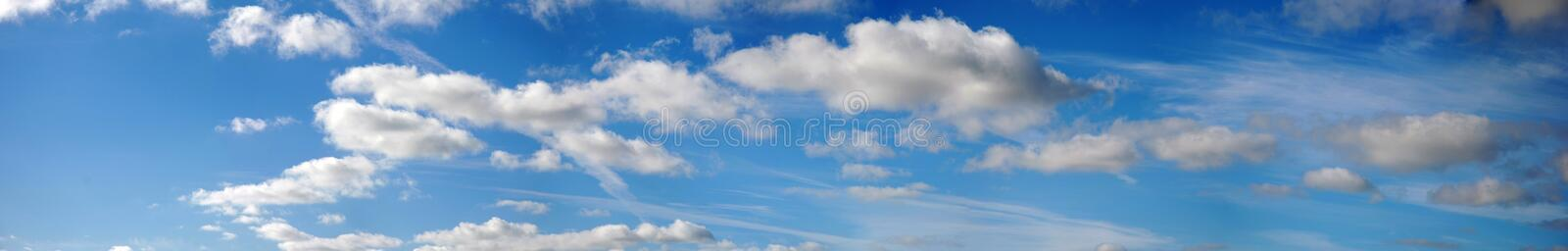 Panoramic clouds and sky stock photo