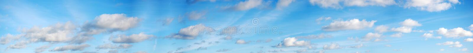 Panoramic clouds and sky. Panoramic view of the sky with clouds