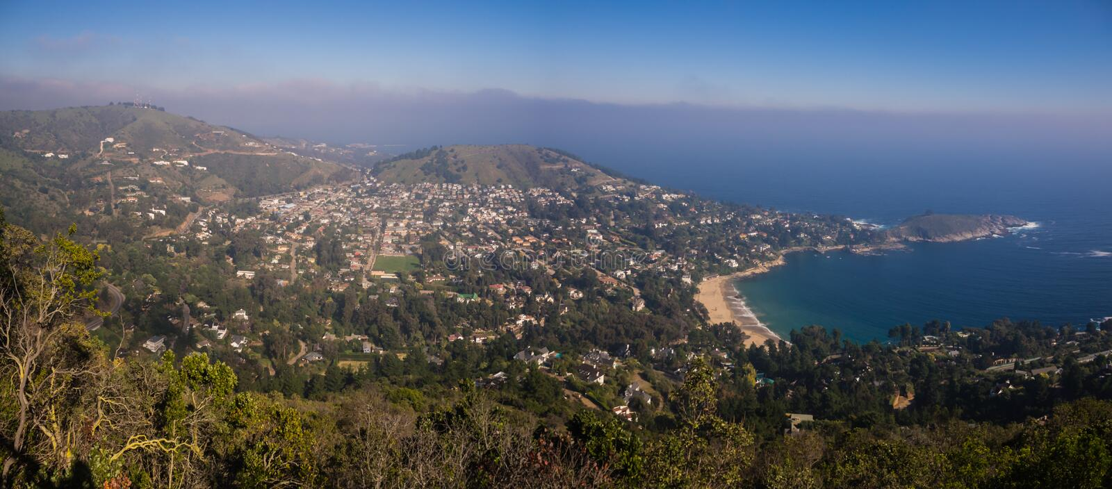 Panoramic of the coast town of Zapallar in Chile. royalty free stock images