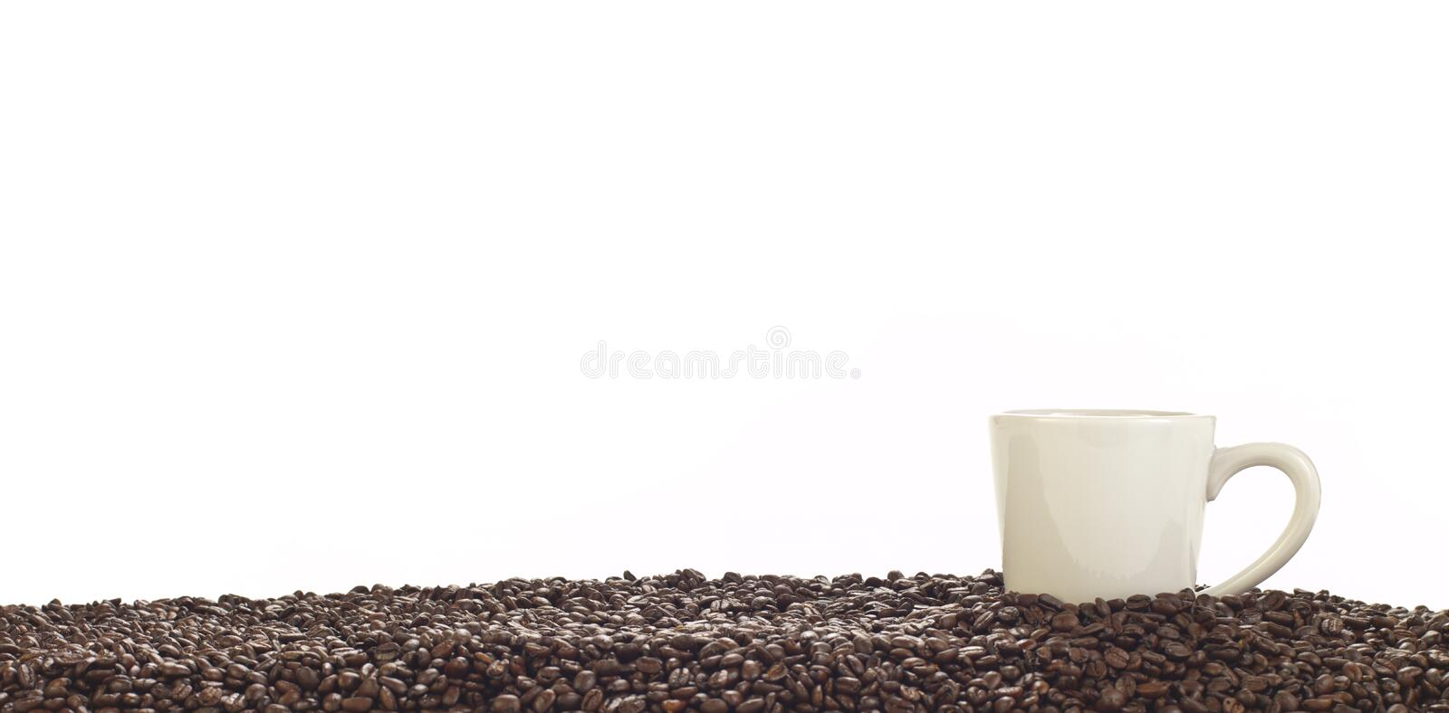Download Panoramic Of Coffee Cup And Whole Beans Stock Image - Image: 25992925