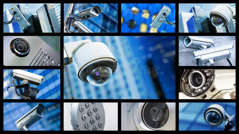 Panoramic collage of closeup security CCTV camera or surveillance system. Concept Panoramic collage of closeup security CCTV camera or surveillance system royalty free stock image