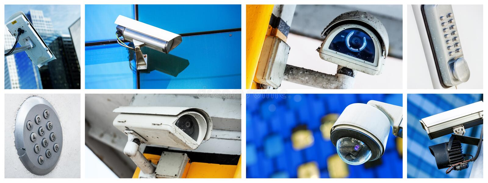 Panoramic collage of closeup security CCTV camera or surveillance system. Concept Panoramic collage of closeup security CCTV camera or surveillance system stock photography