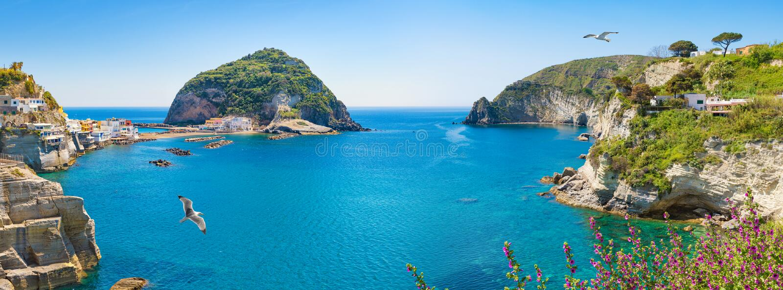 Panoramic collage of neighborhood of small village Sant`Angelo, Ischia Island, Italy stock images