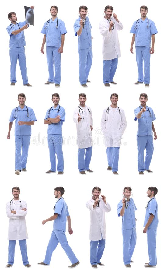 Panoramic collage group of medical doctors . isolated on white stock images