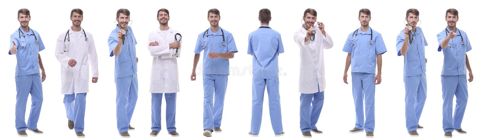 Panoramic collage group of medical doctors . isolated on white royalty free stock images