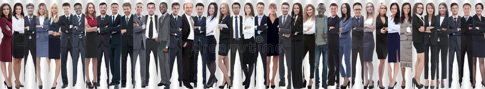 Panoramic collage of a group of successful young business people. stock photography