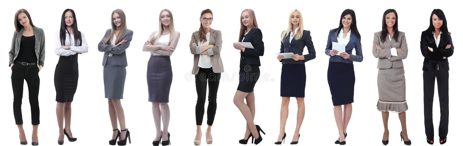 Panoramic collage of a group of successful young business women. stock images