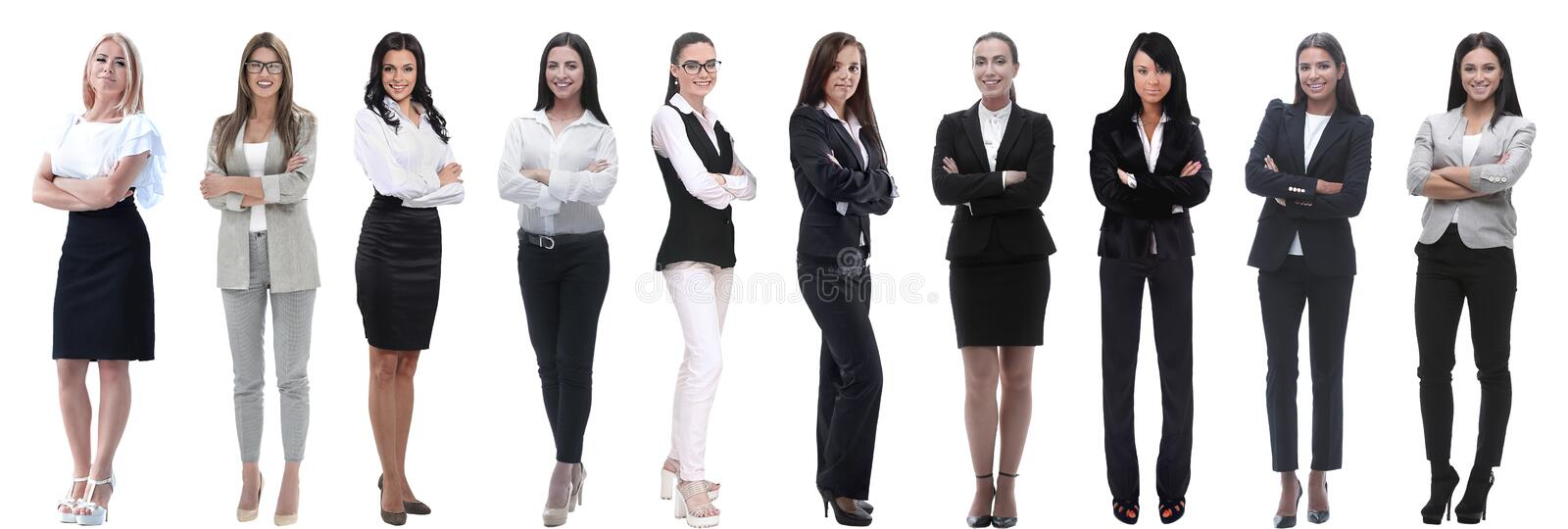 Panoramic collage of a group of successful young business women. royalty free stock photos