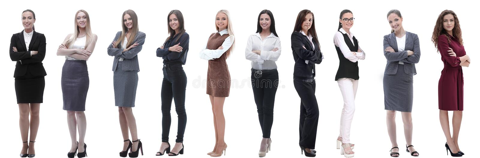 Panoramic collage of a group of successful young business women. Isolated on white background stock photos