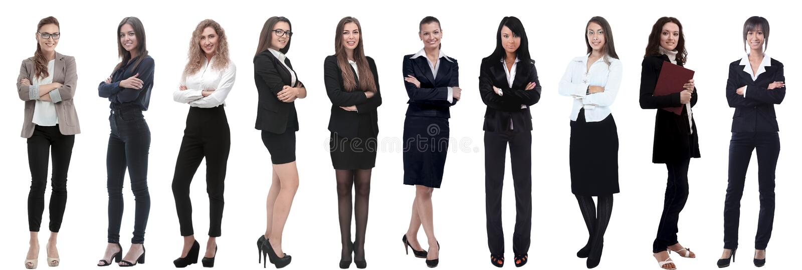 Panoramic collage of a group of successful young business women. stock image
